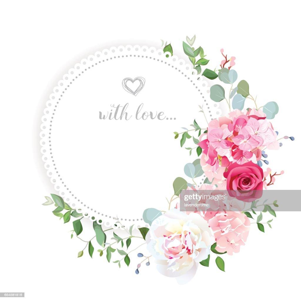 Delicate wedding floral vector design card.