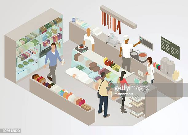 delicatessen illustration - mathisworks business stock illustrations