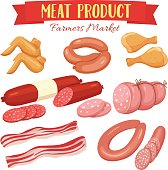 Delicatessen meat product icons set