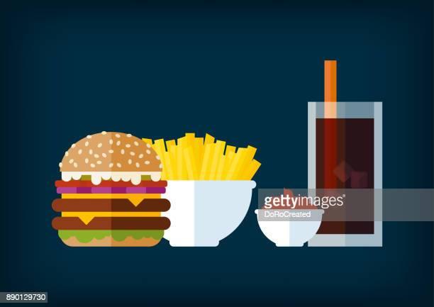 delicious burger menu - ketchup stock illustrations, clip art, cartoons, & icons