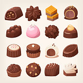 Delicious dark and white chocolate candies in various shapes and flavors. Isolated vector images.