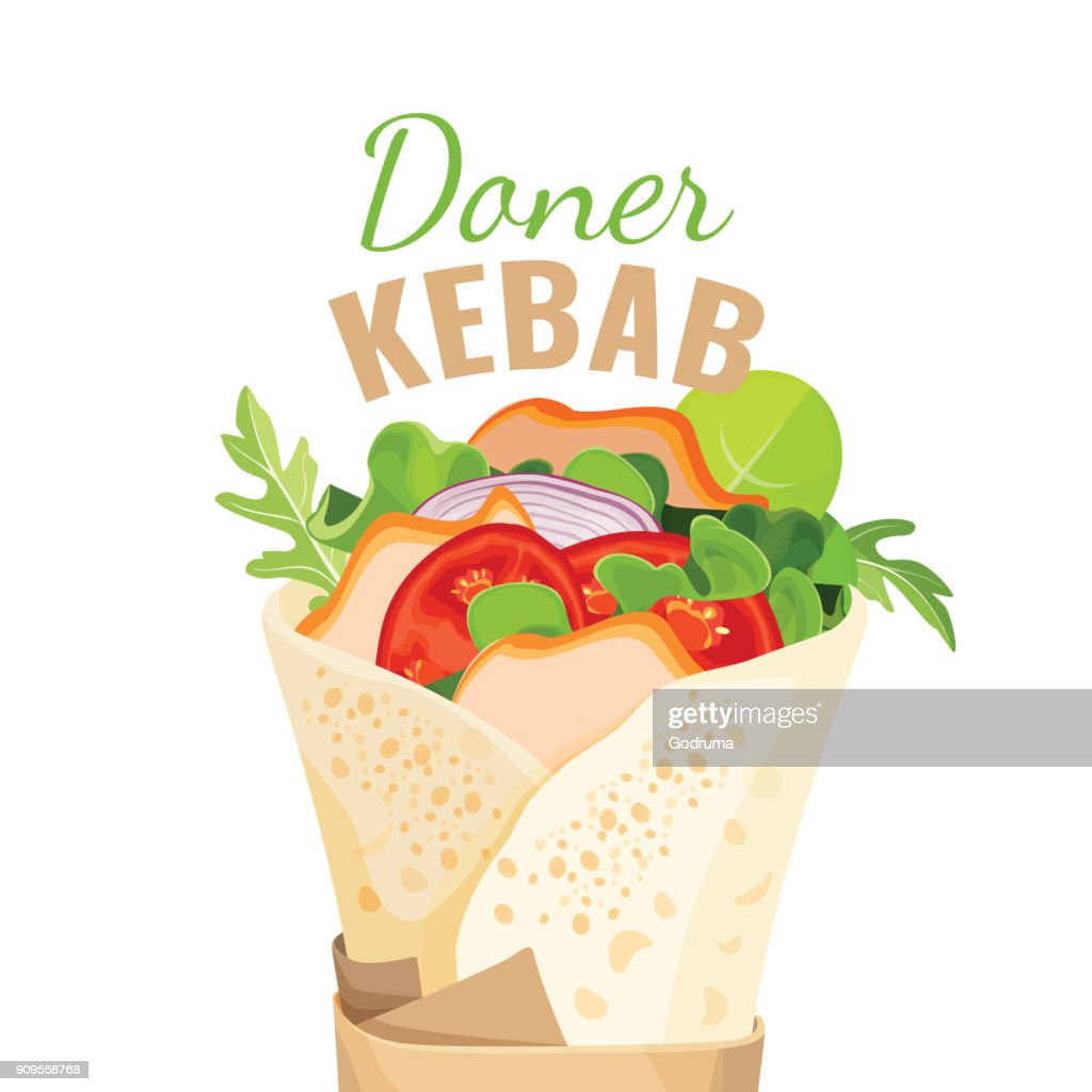 Delicious doner kebab full of vegetables and chicken