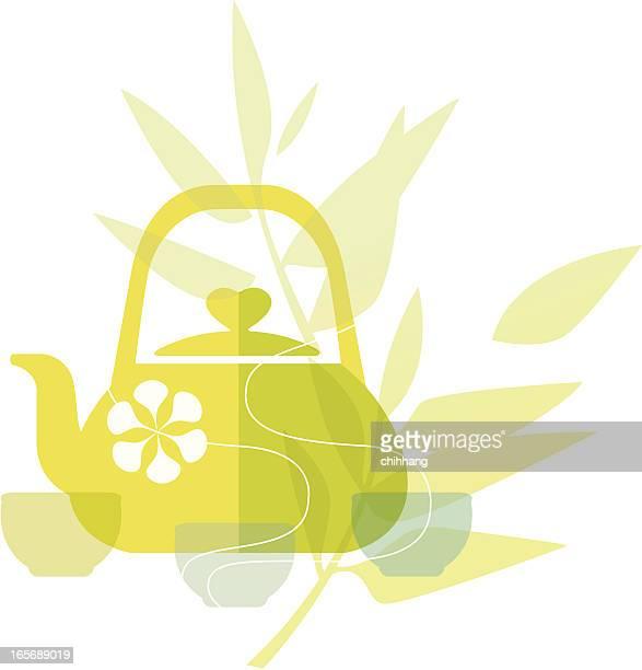 delicious living (green tea) - green tea stock illustrations, clip art, cartoons, & icons