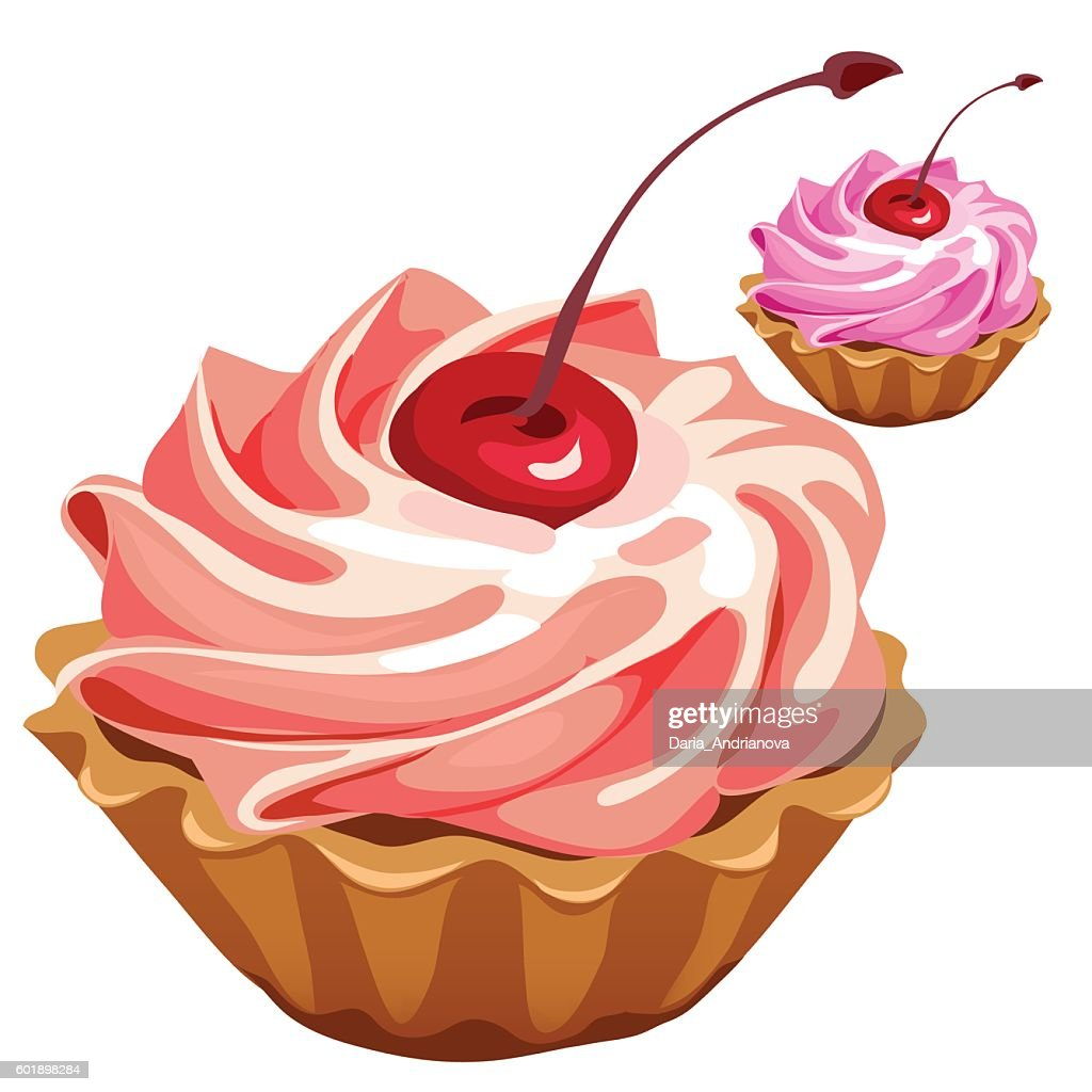 Delicious pink cupcake with cherry, vector desert