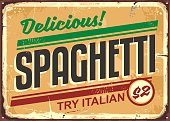 Delicious spaghetti meal vintage sign board