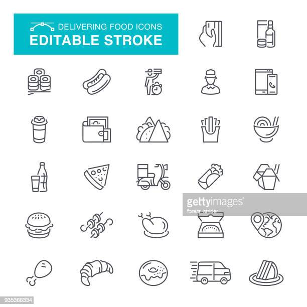 Delivering Food Editable Stroke Icons