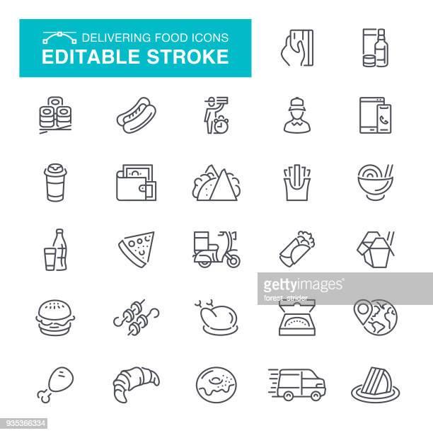 ilustrações de stock, clip art, desenhos animados e ícones de delivering food editable stroke icons - batata frita