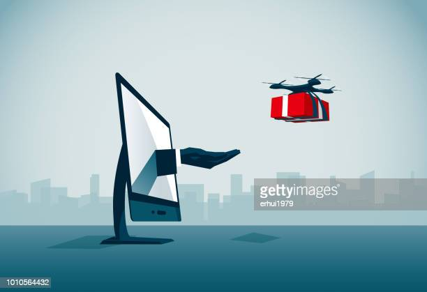 delivering - drone stock illustrations, clip art, cartoons, & icons