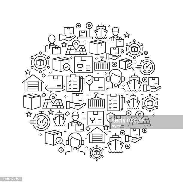 ilustrações, clipart, desenhos animados e ícones de entrega e logística conceito - ícones de linha preto e branco, dispostas em círculo - frete