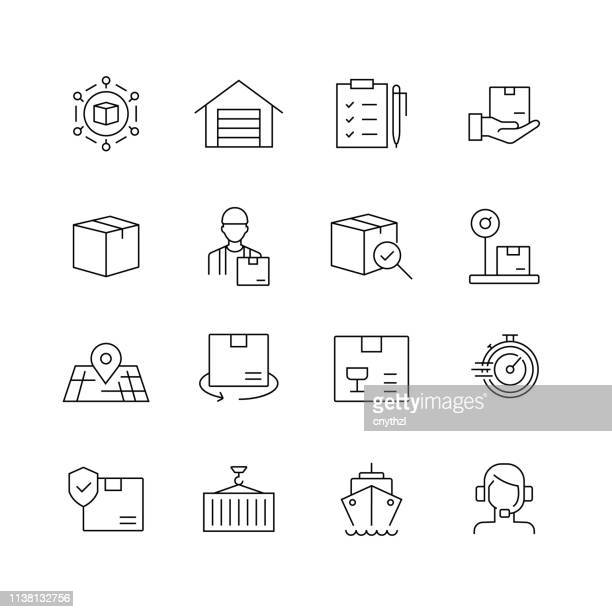 delivery and logistics - set of thin line vector icons - receiving stock illustrations, clip art, cartoons, & icons