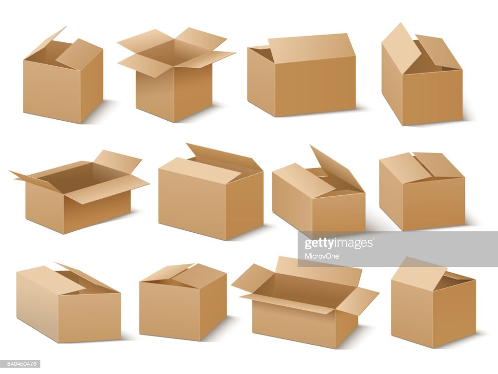 Delivery and shipping carton package. Brown cardboard boxes vector set