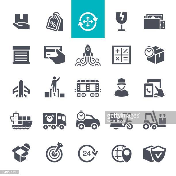 delivery and shipping icons - office safety stock illustrations, clip art, cartoons, & icons
