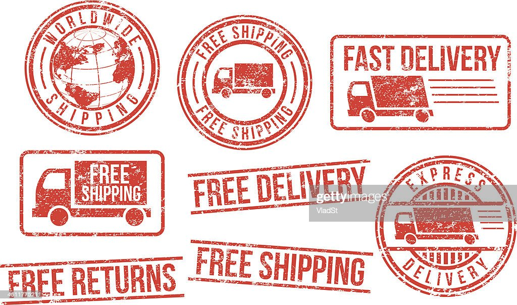 Delivery and shipping rubber stamps