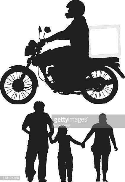 ilustrações, clipart, desenhos animados e ícones de entrega de bicicleta e familiares (vector - entregador