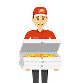 Delivery boy with pizza. Funny character man isolated on white.