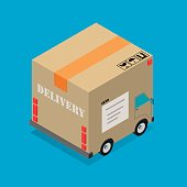 Delivery cardboard box truck