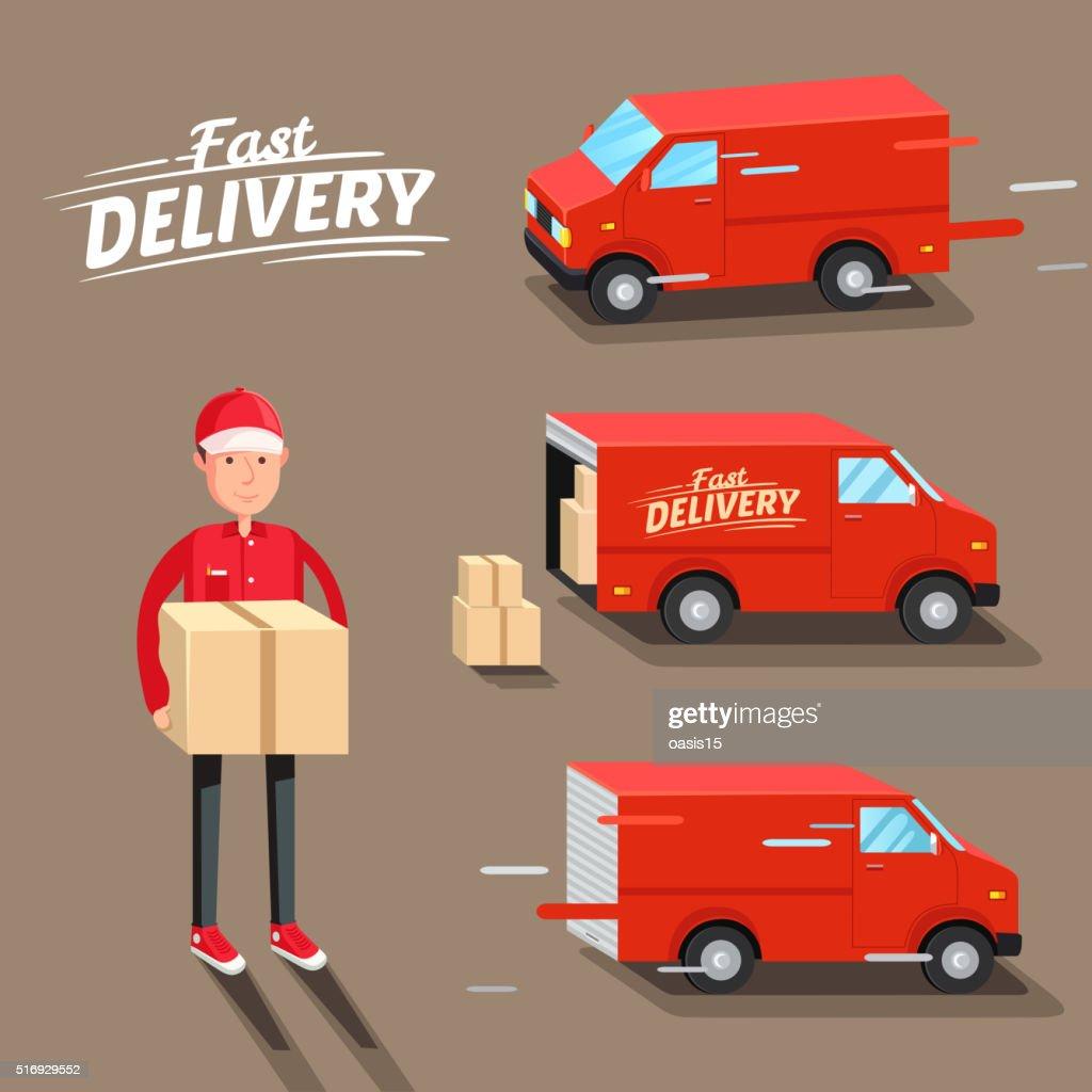 Delivery Concept. Fast delivery van. Delivery man. Vector illustration