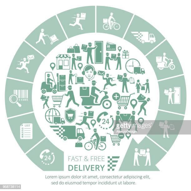 illustrations, cliparts, dessins animés et icônes de concept de livraison - facteur