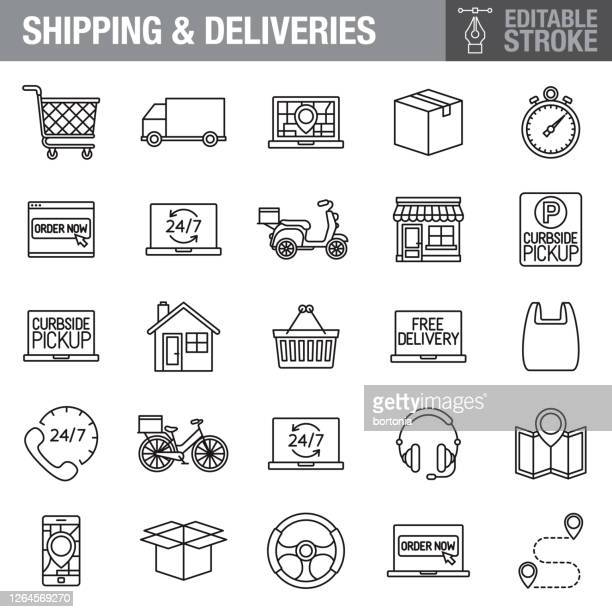 delivery editable stroke icon set - curbside pickup stock illustrations
