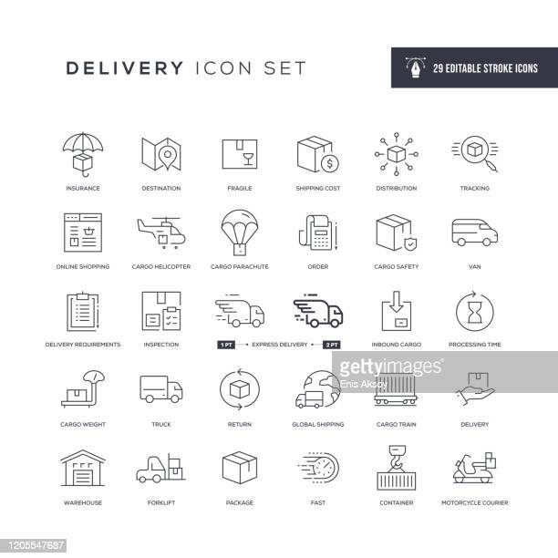 delivery editable stroke line icons - sending stock illustrations
