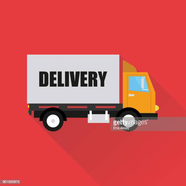 delivery flat icon - truck stock illustrations