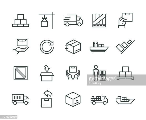 delivery icon set - returning stock illustrations