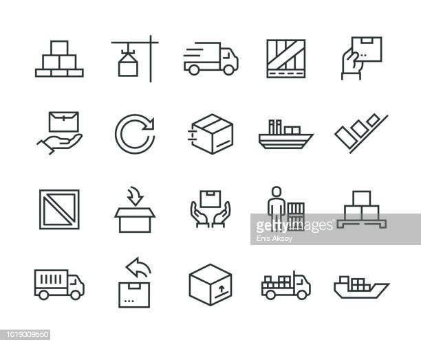 illustrazioni stock, clip art, cartoni animati e icone di tendenza di delivery icon set - rinviare la palla