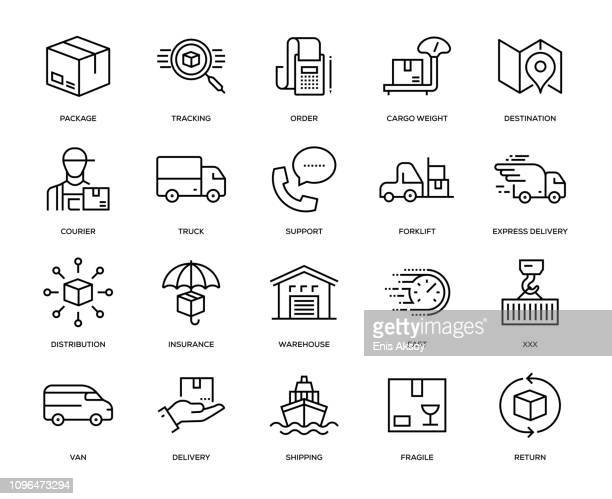 delivery icon set - shipping stock illustrations
