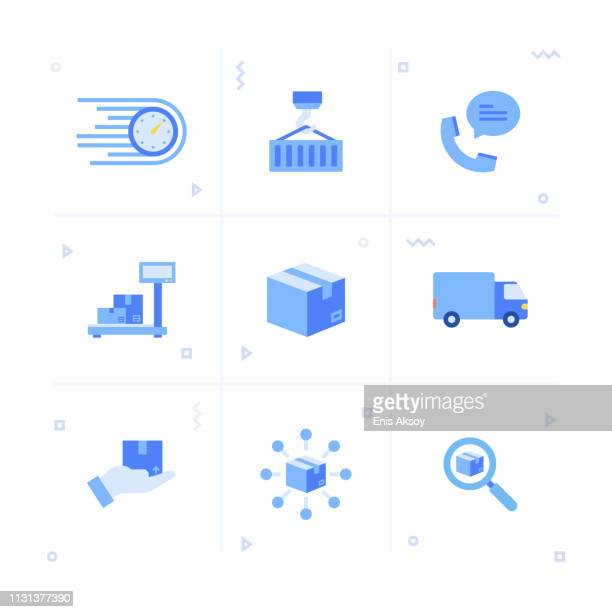 delivery icon set - courier stock illustrations