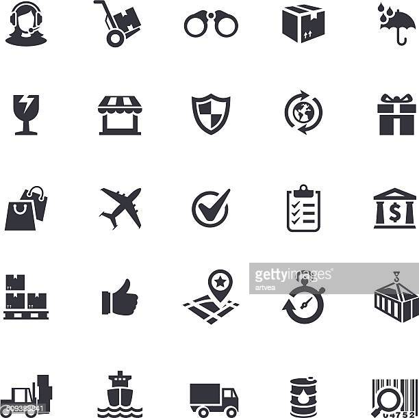 delivery icon set - hand truck stock illustrations, clip art, cartoons, & icons