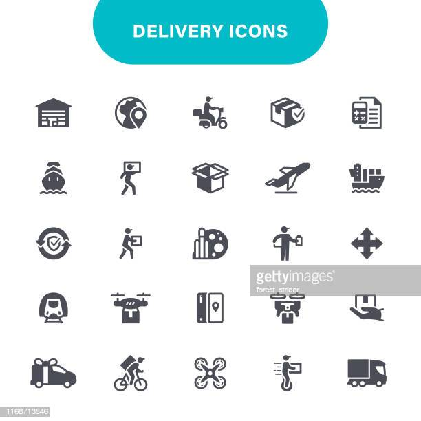 delivery icon - courier stock illustrations