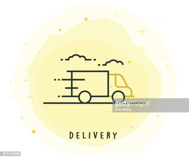 delivery icon with watercolor patch - painting art product stock illustrations