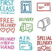 Delivery icons doodle set