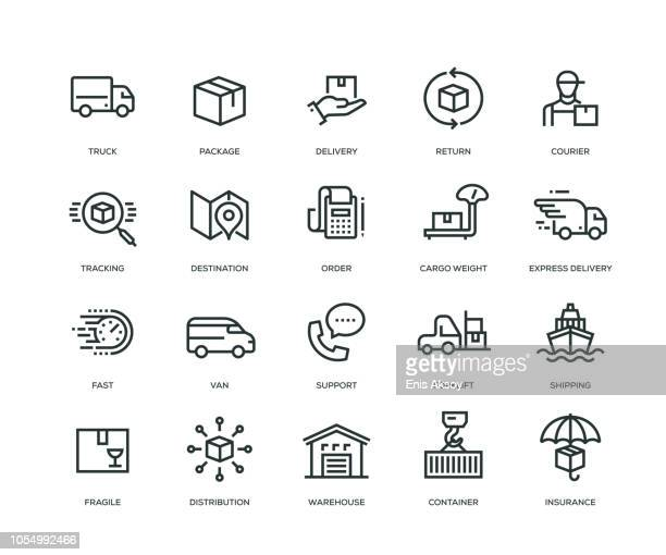 delivery icons - line series - land vehicle stock illustrations
