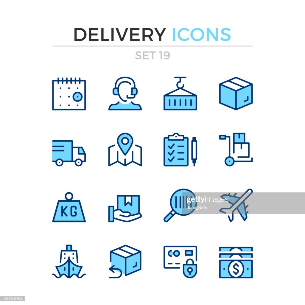 Delivery icons. Logistics, shipping, shipment. Vector line icons set. Premium quality. Simple thin line design. Stroke, linear style. Modern outline symbols, pictograms