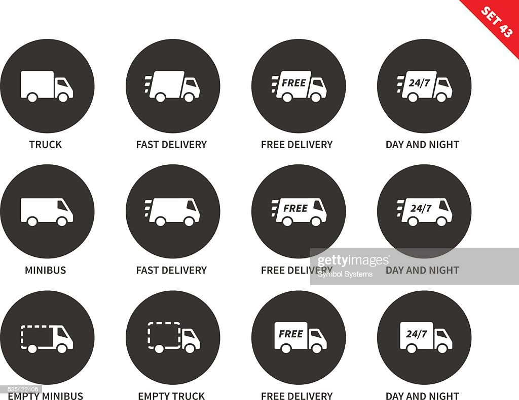 Delivery icons on white background
