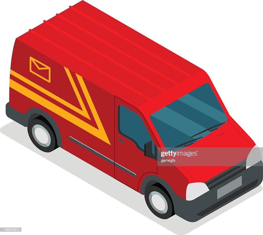 Delivery isometric 3d van car truck cargo