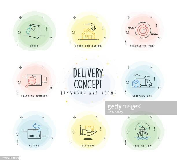 Delivery Line Icon Set with Watercolor Patch