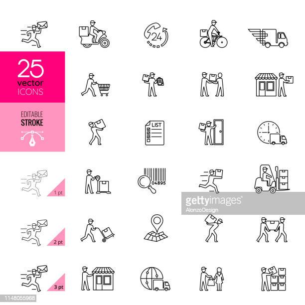 delivery line icons. editable stroke. - post office stock illustrations