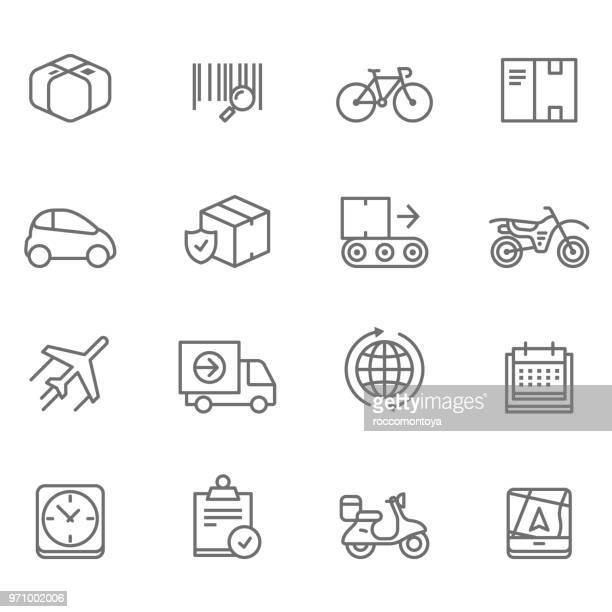 delivery line icons - illustration - sentando stock illustrations