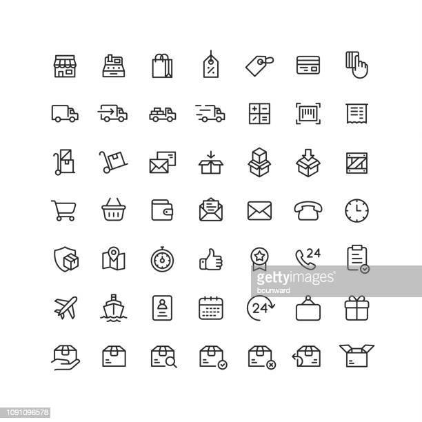 delivery & logistic outline icons - consumerism stock illustrations