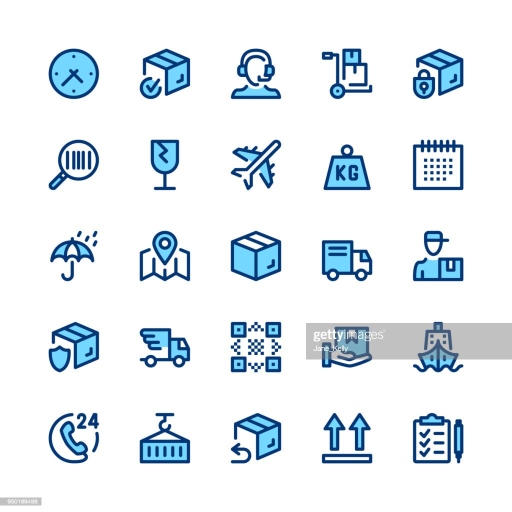 Delivery, logistics line icons set. Modern graphic design concepts, simple symbols, linear stroke web elements, pictograms collection. Minimal thin line design. Premium quality. Pixel perfect. Vector outline icons