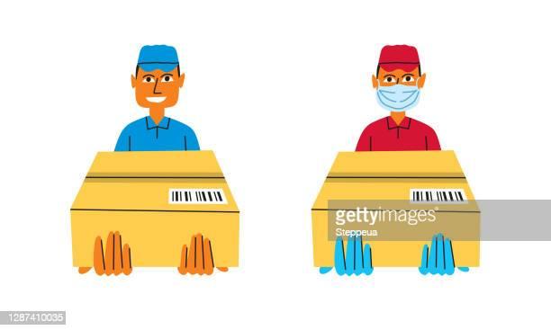 ilustrações, clipart, desenhos animados e ícones de entregador segurando uma caixa - entregador