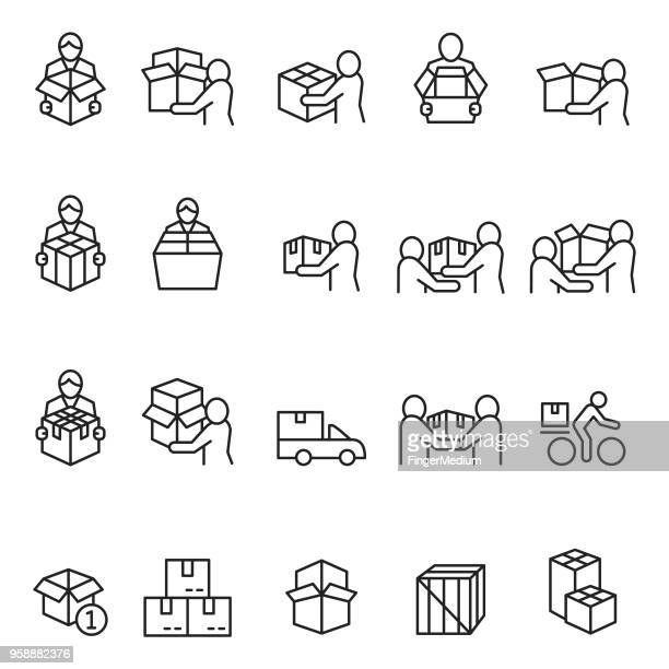 Delivery man icon set