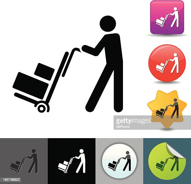 delivery man icon | solicosi series - hand truck stock illustrations, clip art, cartoons, & icons