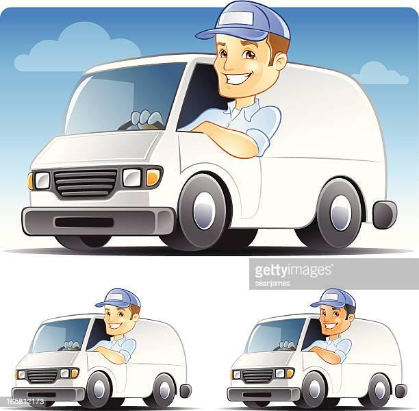 Delivery man, Serviceman, Handyman, Repairman Driving Van
