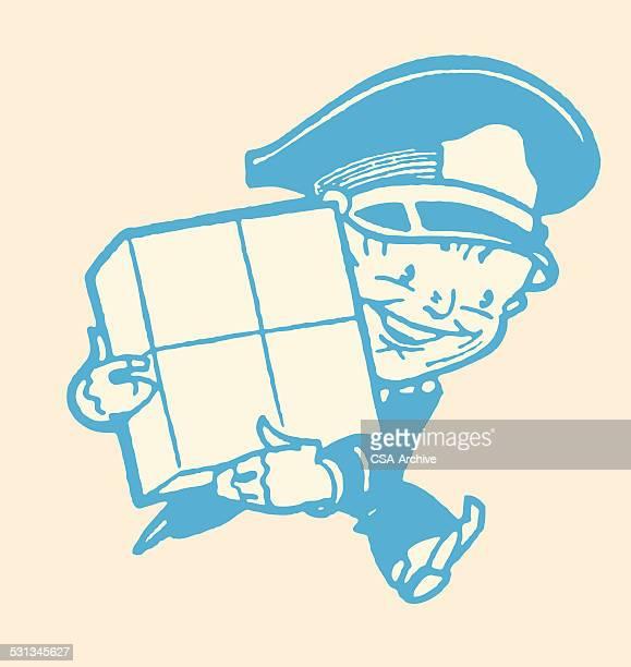 illustrations, cliparts, dessins animés et icônes de livraison homme avec le forfait - facteur