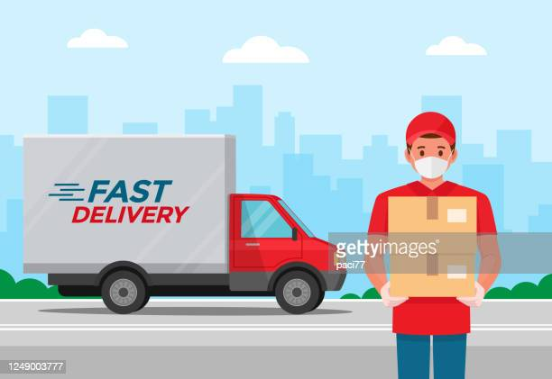 delivery man with protective medical mask and delivery truck, during coronavirus covid-19 epidemic - box container stock illustrations