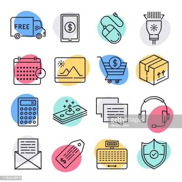 Entrega y recolección de productos al por menor estilo Doodle vector conjunto de iconos