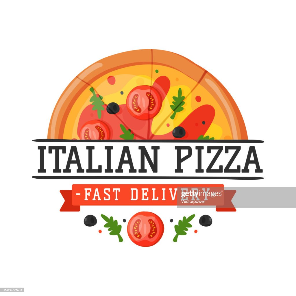 Delivery pizza badge vector illustration